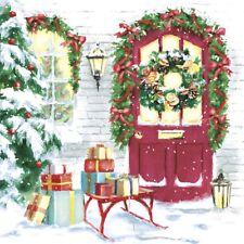 4 Lunch Paper Napkins for Decoupage Craft Vintage Napkin Christmas Door