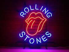 "17""x14"" Rolling Stones Beer Pub Bar Man Cave Garage Real Glass Neon Sign"