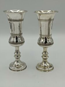 Pair of Antique Solid Silver Kiddush Cups  Joseph Zweig Chester 1919 62 Grams