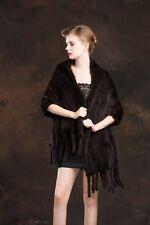 100% real knitted mink fur scarf shawl neckerchief muffler Shawl wrap warm 03