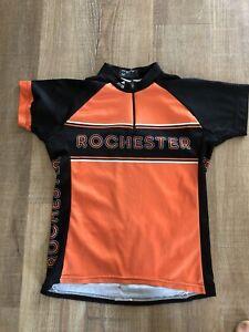 Youth Cycling Jersey Mt. Borah Size Medium Orange, Black, White Rochester