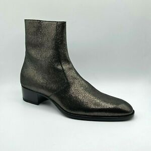 $1095 Saint Laurent Wyatt Evora Men Metallic Gold Leather Ankle Boot 549291 1606