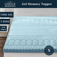 Bedding Cool Gel Memory Foam Mattress Topper Bamboo Cover 5CM 7-Zone Single