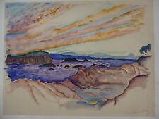 QUELVEE (François) (1884-1967). Paysage de bord de mer. Aquarelle. Signée