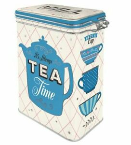 Retro TEA TIME CLIP TOP Tea Bags STORAGE TIN Cookie Jar