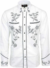 Relco White Black Cowboy Western Line Dancing Flower Embroidered Shirt NEW