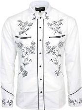 Relco Weiß Schwarz Cowboy Western Line Dance Tanzen Blumenbestickt Shirt Neu
