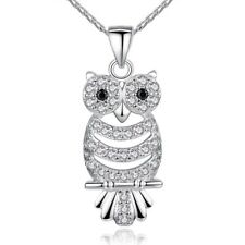 Retro Owl Pendant Necklace AAA Austrian Zircon 18K White Plated, in Red Gift Box