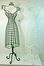 "2 Metal Doll Dress Forms - Tabletop Stands for Decorative Display Female 21"" B&W"