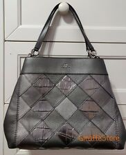 NEW - Coach LEXY Leather Shoulder Bag With Patchwork - GUNMETAL MULTI/SILVER