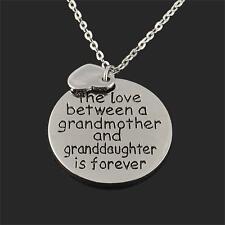 Love Gift Grandmother granddaughter Statement Bid Pendant Chain Necklace Silver
