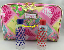 New! Estee Lauder Lilly Pulitzer  Makeup Bag with Top Handle + 2 Travel Bottles