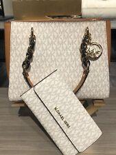 Michael Kors SOFIA Medium Tote Crossbody Vanilla Bag or Trifold Wallet or Both