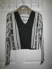 VTG Wrangler Cropped Long Sleeve Cut Out Back Double Breasted Blouse Shirt L