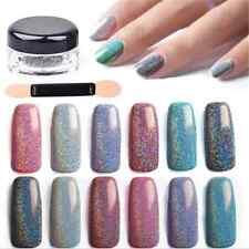 2g/Box+Brush Holographic Laser Powder Nail Glitter Rainbow Chrome Pigments Decor