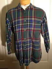 Woolrich Shirt Jacket Plaid Cotton Textured Button Front Blue Green Large
