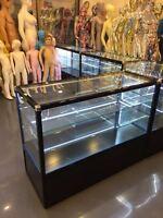 Shop Counter Set Retail Display Cabinet Corner Glass Showcase Storage Shelves