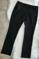 EILEEN FISHER Womens Leather Stretch Casual Ponte Pants Black Size 4 EUC