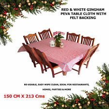 Easy Clean Table Cloth Cover Red White Checks Xmas Restaurant Home Decor150x213