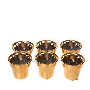 SELETTI ESTETICO QUOTIDIANO LIMITED Gold EDITION 6 Coffee Cups & Stirrers Set