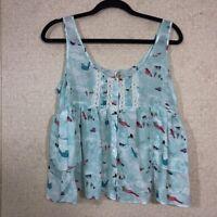 Free People Bird Print Baby Doll Crop Top Women's Size M