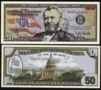 Fifty Novelty Bucks, Play Money Dollar House Novelty Note - Lot of 10 Bills