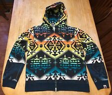 RARE Mens BAPE A Bathing Ape Native Multi-Color Hoodie Jacket Medium