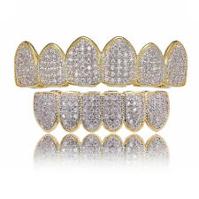 18K Gold Plated High Quality Pink Color CZ Top & Bottom GRILLZ Teeth Grills New