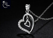 Double Heart 925 Sterling Silver Jewelry Pendant Necklace Chain Valentine's gift