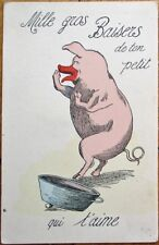 Pig w/Red Snout Blowing Kisses 1910 French Postcard - Mille Gros Baisers...