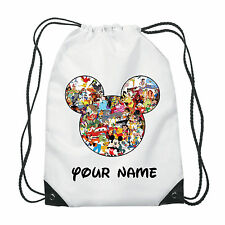Personalised Mickey Mouse Drawstring Bag for PE Ballet School Swimming -101ds