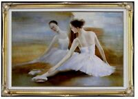 Framed Quality Hand Painted Oil Painting, Ballerina Warm-ups 24x36in