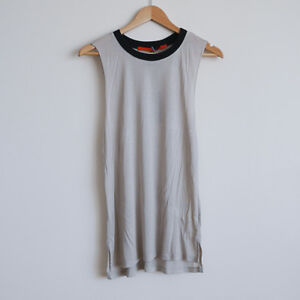 Feel the Piece by Terre Jacobs Taupe Black Rib Sleeveless Tank One Size 8 10 12