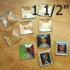 (10 pack) 1-1/2 inch Clear Glass Bevel Square Beveled top Flat Back for PENDANT
