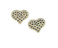 Gold Metallic Hearts w/Rhinestones  Iron On TransferLove Romance Valentine