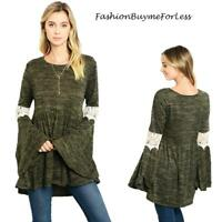 Olive BOHO Hippy Crochet Flare Bell Sleeve Haute Swing Tunic Sweater Top M L XL