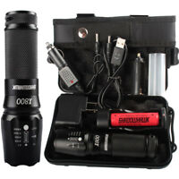 Tactical Military LED Flashlight Torch 3-Mode With 18650 Battery And Charger