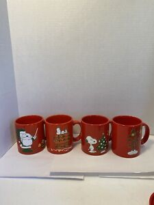 Waechtersbach Peanuts Christmas Holiday Collection 4 Mugs Snoopy & Woodstock