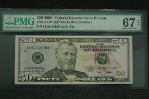 2009 $50 FRN Fr 2131-A* Star PMG 67 EPQ Superb Gem Boston