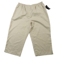 NWT Kim Rogers Tan Elastic Waist Capri Pants Women's Size 14