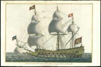 1802 ORIGINAL Antique Print - SOVEREIGN OF THE SEAS 1637 Battle Navy Ship  (5ii)