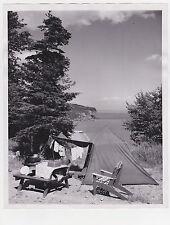 60s 70s Press News Vintage PHOTO  Tent CAMPING adirondack Chair LAKE pic nic
