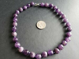 """Vintage Faceted Genuine Amethyst Bead Necklace Hand Knotted 18"""" 10mm Beads"""