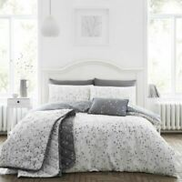 Cotton Rich Pale Grey Duvet Cover Set Hip Sprig in Double Bed Size Reversible