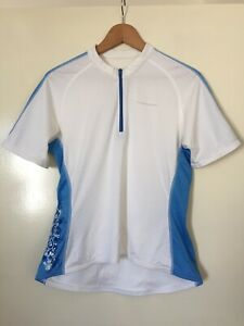 WOMENS 'CANNONDALE' Size 14 WHITE BLUE 1/4 ZIP SHORT SLEEVE CYCLING JERSEY