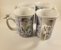 Hallmark Houston Harvest Butterfly Handle Coffee Cup Mug Purple Flowers Set of 4