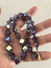 Beautiful Vintage Art Deco Purple AB Crystal Bead Necklace
