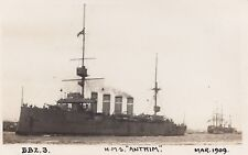 """Royal Navy Real Photo. HMS """"Antrim"""" Cruiser. Funnel Bands. Portsmouth. 1909"""