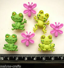 HAPPY FROGS Craft Buttons 1ST CLASS POST Garden Pond Toad Water Insect Reptile