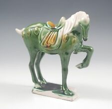 VINTAGE CHINESE TANG SANCAI GLAZE, THREE COLOR WAR HORSE FIGURINE, MARKED